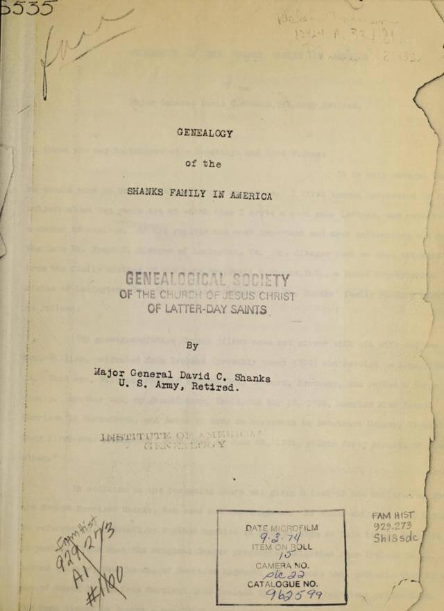 Genealogy of the Shanks family in America