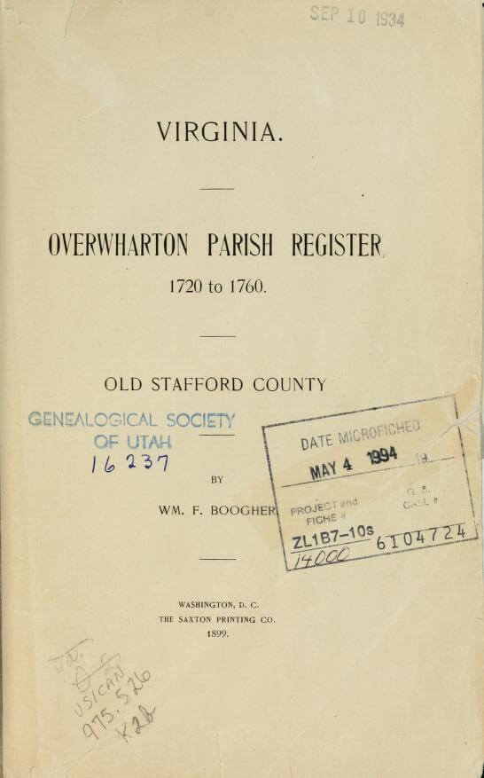 Virginia, Overwharton Parish Register, 1720 to 1760, Old Stafford County