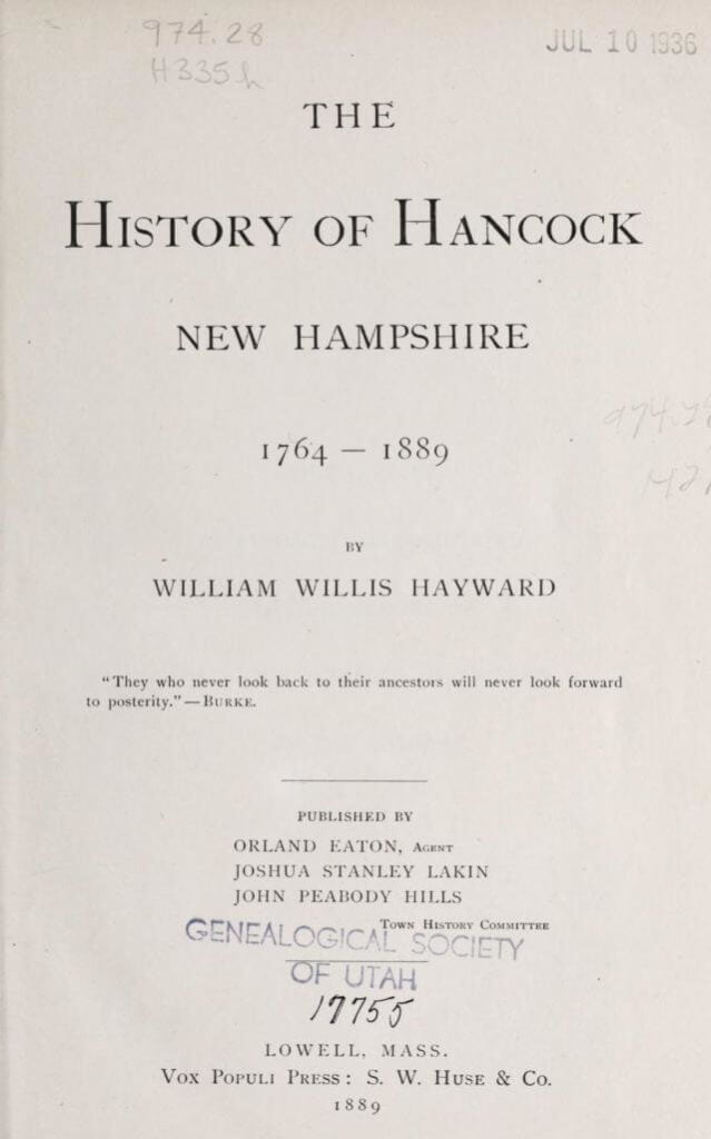 The history of Hancock, New Hampshire, 1764-1889