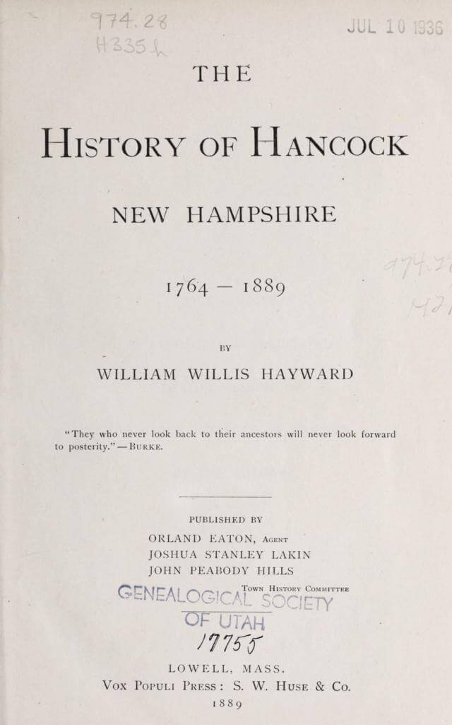 The history of Hancock, New Hampshire, 1764-1889