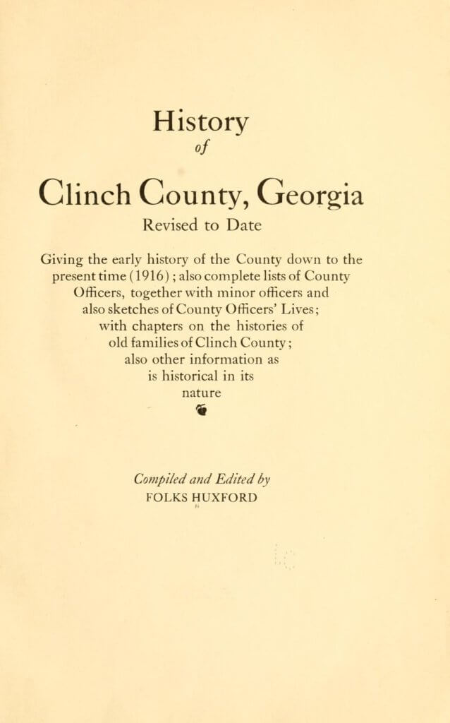 History of Clinch County, Georgia