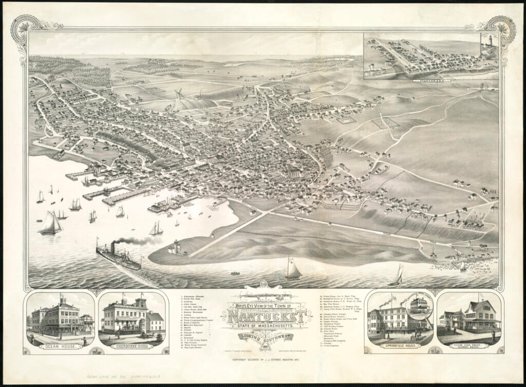 1881 Bird's eye view of the town of Nantucket in the State of Massachusetts