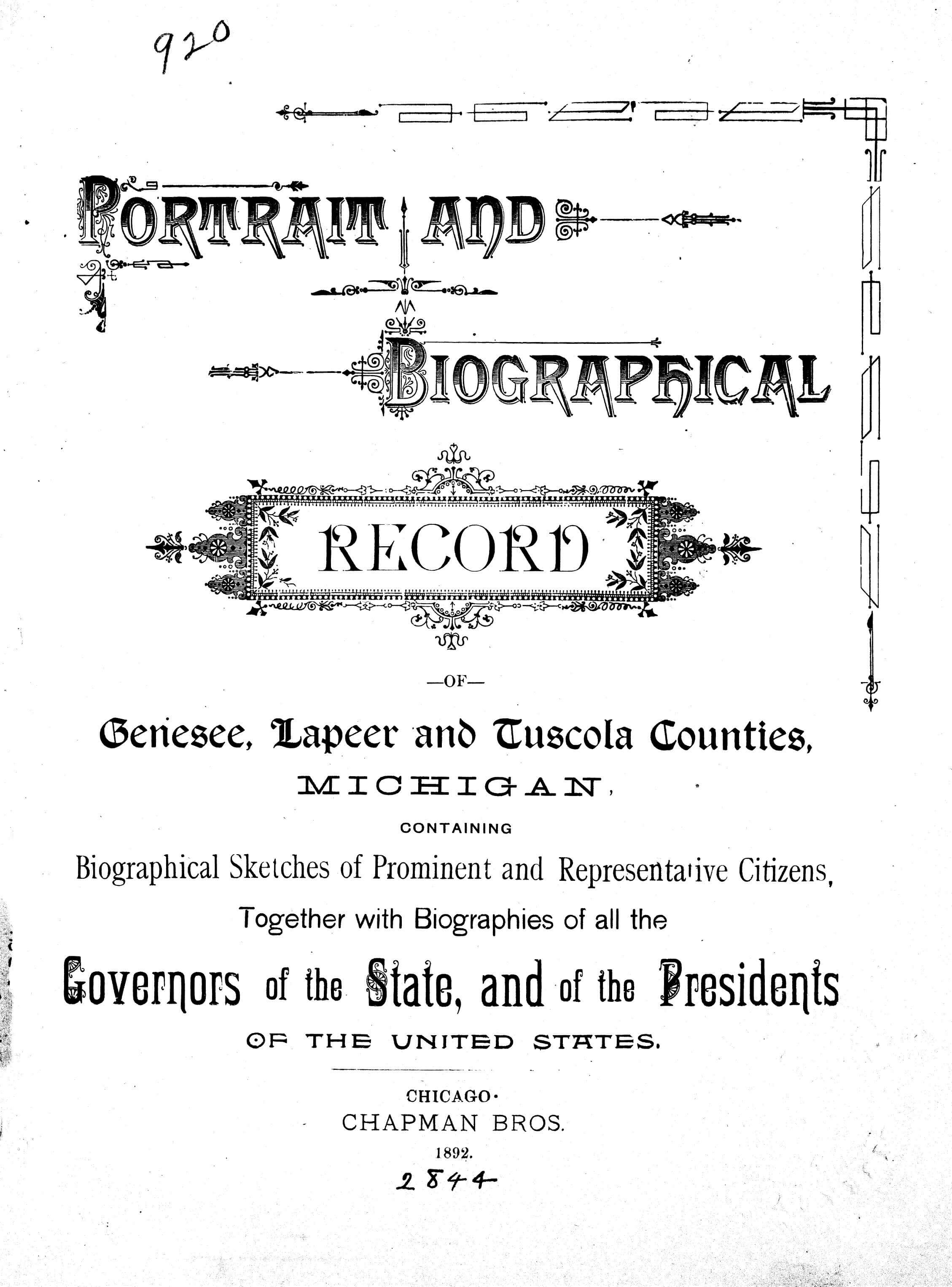 Portrait and biographical record of Genesee, Lapeer and Tuscola counties