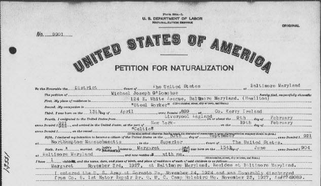 petition for naturalization