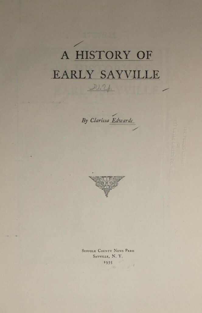 A history of early Sayville, New York