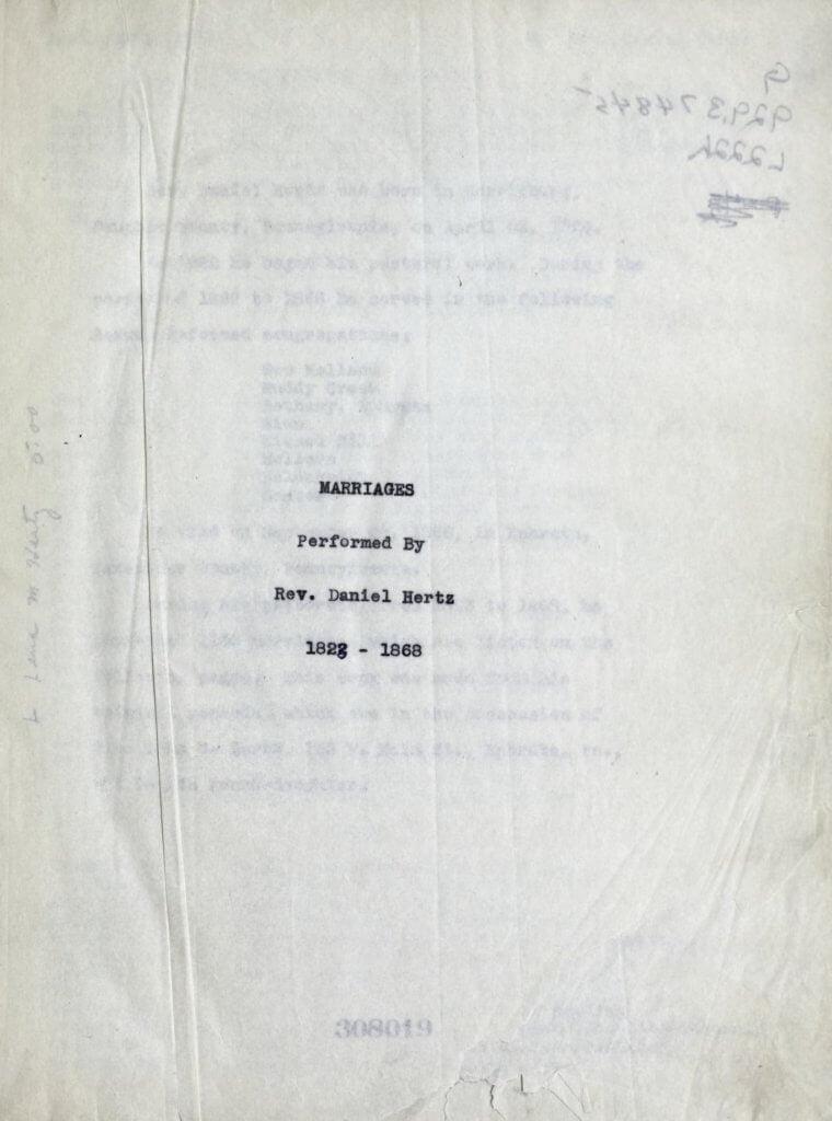 Marriages performed by Rev. Daniel Hertz, 1823-1868 1