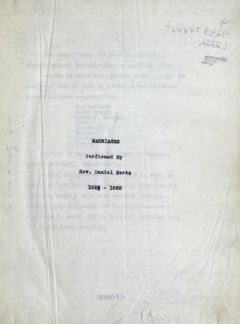 Marriages performed by Rev. Daniel Hertz, 1823-1868