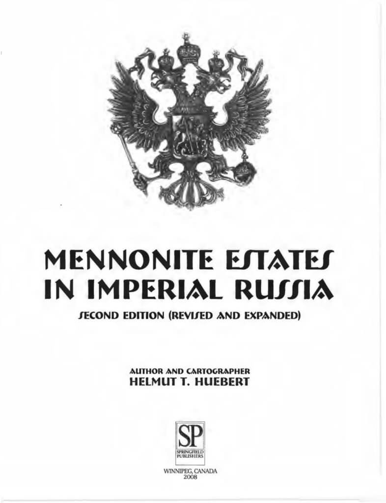 Mennonite Estates in Imperial Russia, 2nd ed. title page