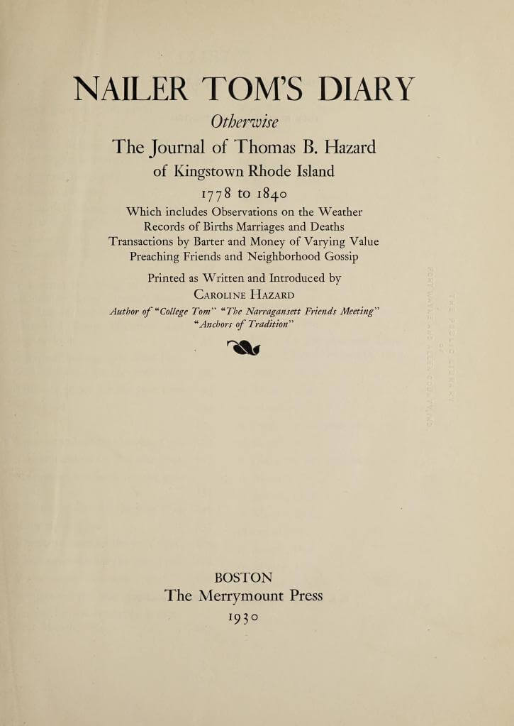 Nailer Tom's diary - Thomas Benjamin Hazard 1
