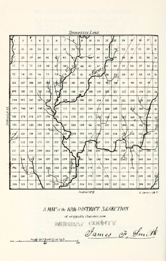 A map of the 10th District 3rd Section of originally Cherokee, now Murray County