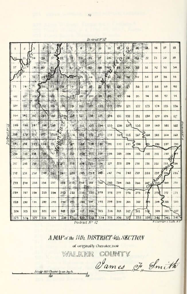 A map of the 11th District 4th Section of originally Cherokee, now Walker County