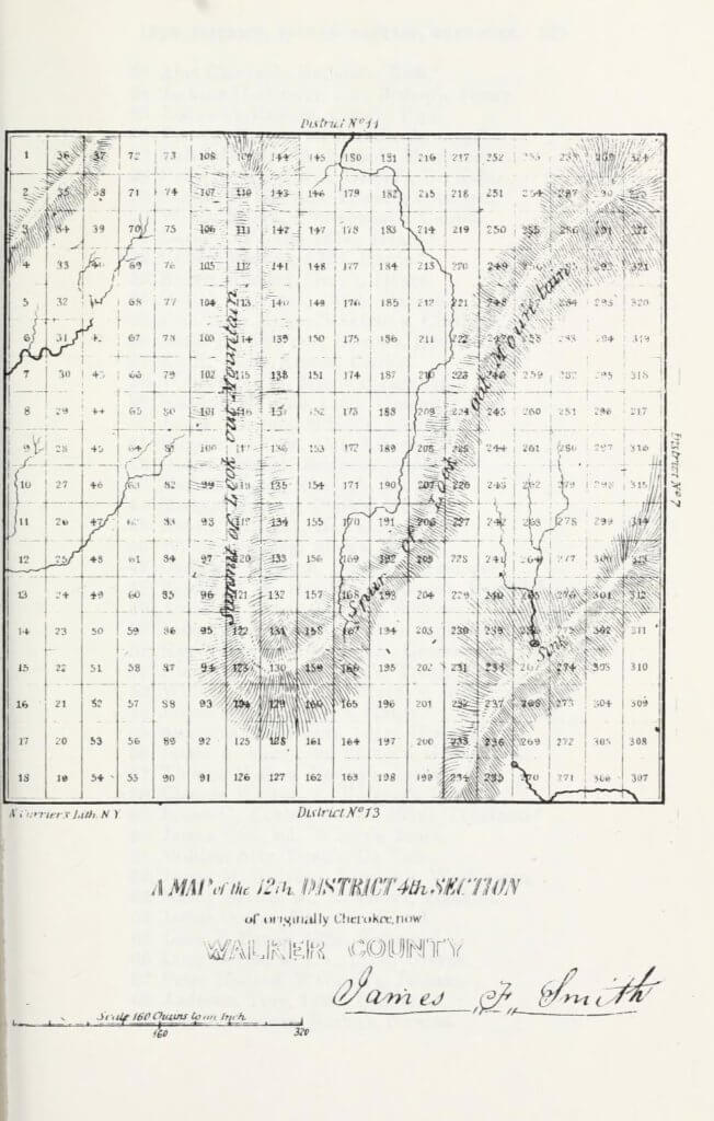 A map of the 12th District 4th Section of originally Cherokee, now Walker County