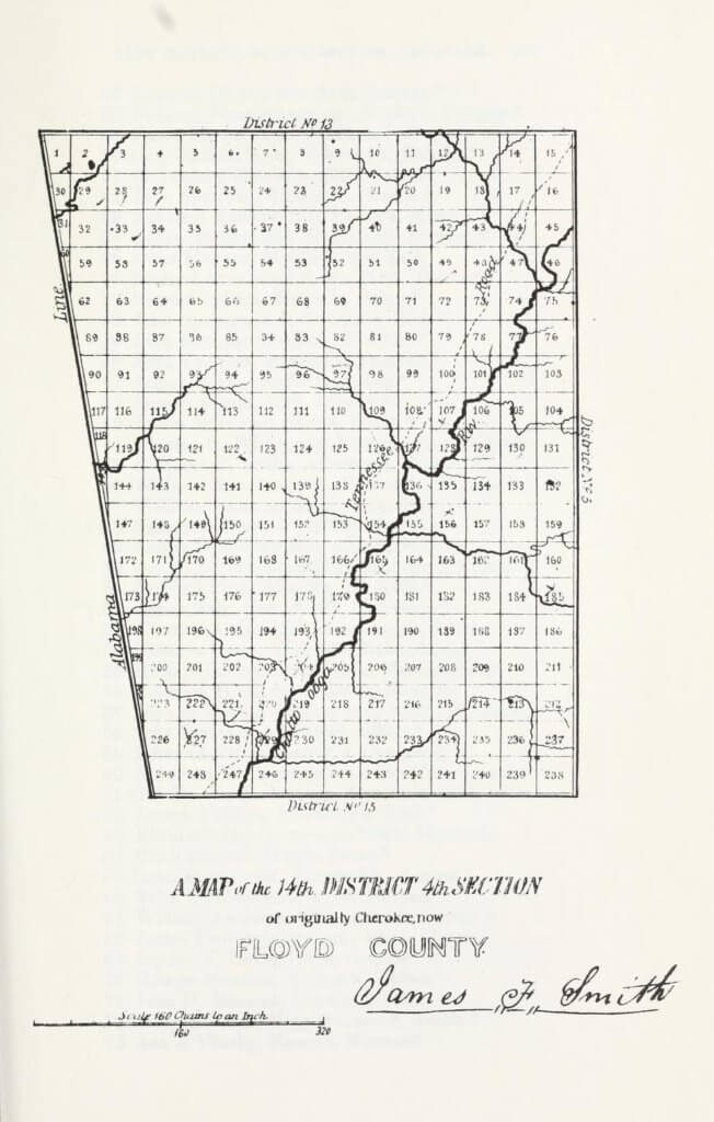 A map of the 14th District 4th Section of originally Cherokee, now Floyd County