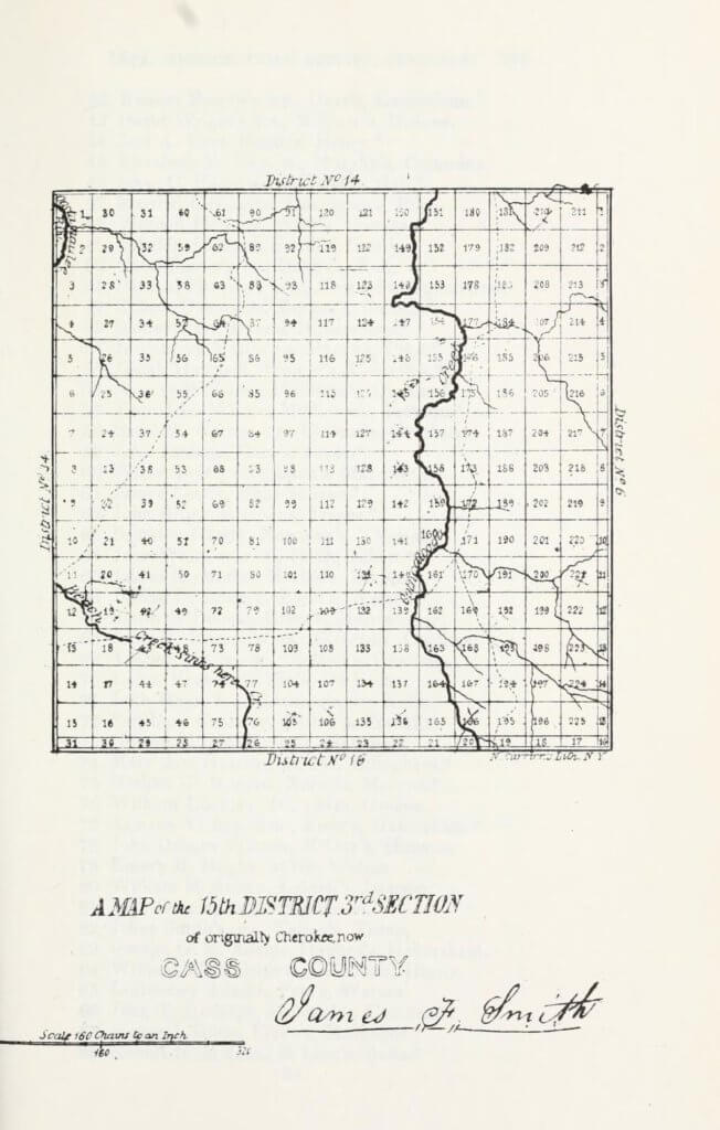 A map of the 15th District 3rd Section of originally Cherokee, now Cass County