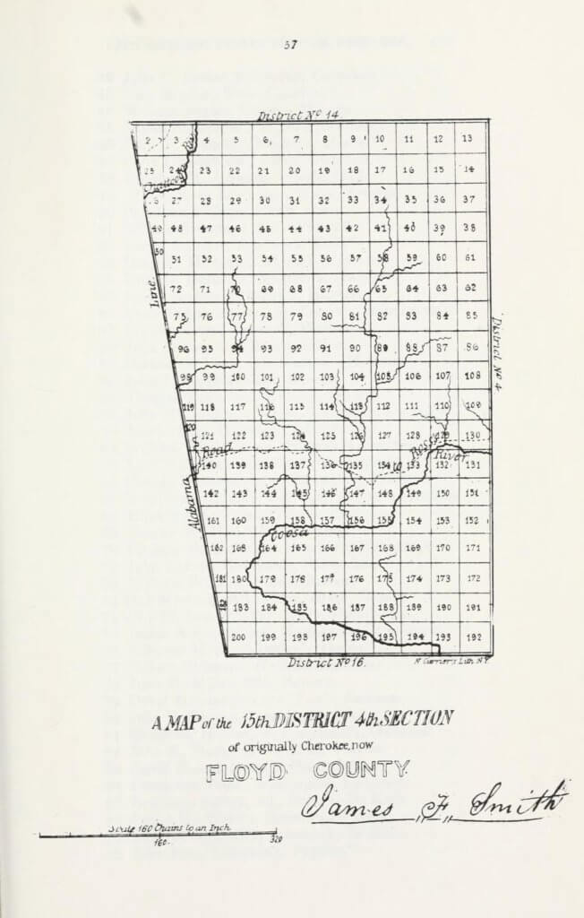 A map of the 15th District 4th Section of originally Cherokee, now Floyd County
