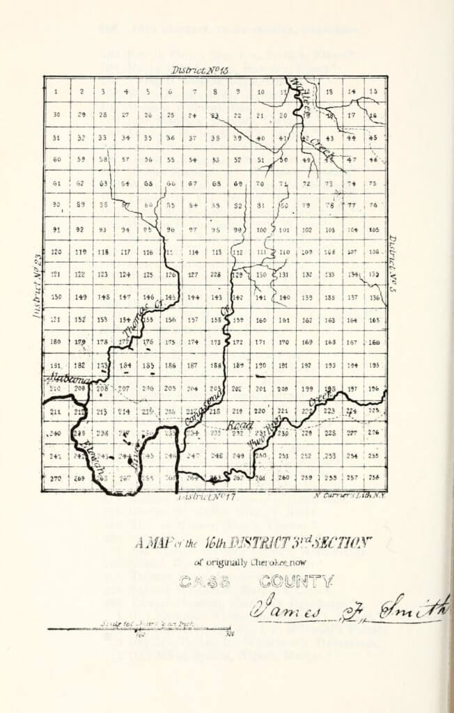 A map of the 16th District 3rd Section of originally Cherokee, now Cass County