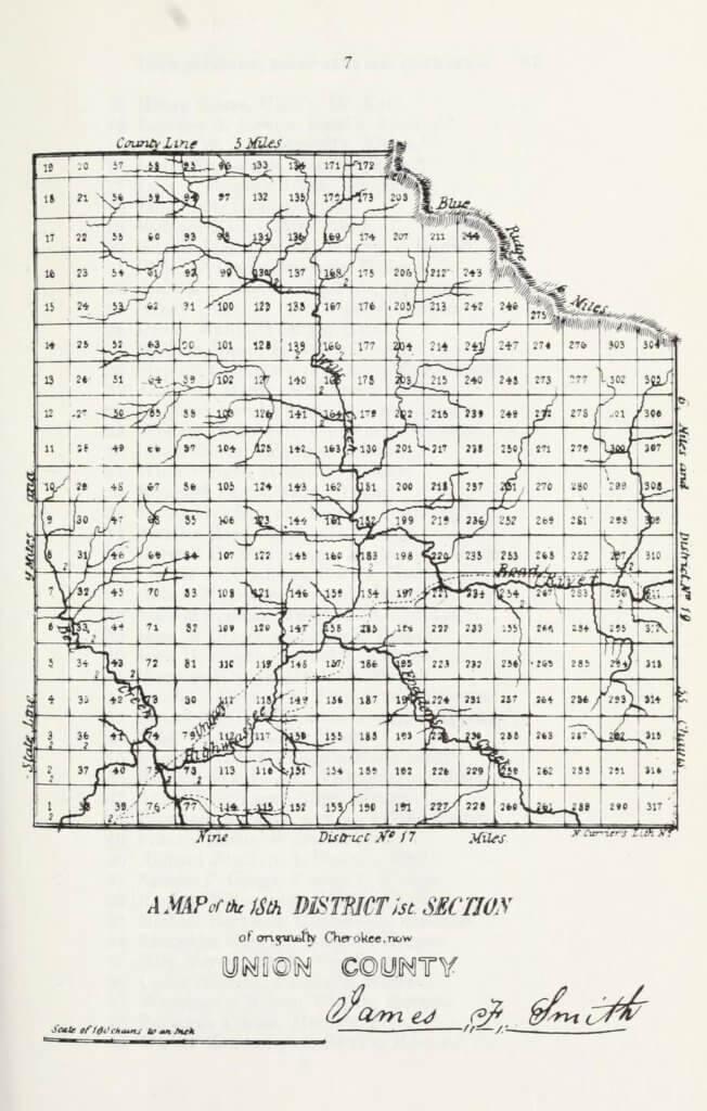 A map of the 18th District 1st Section of originally Cherokee, now Union County