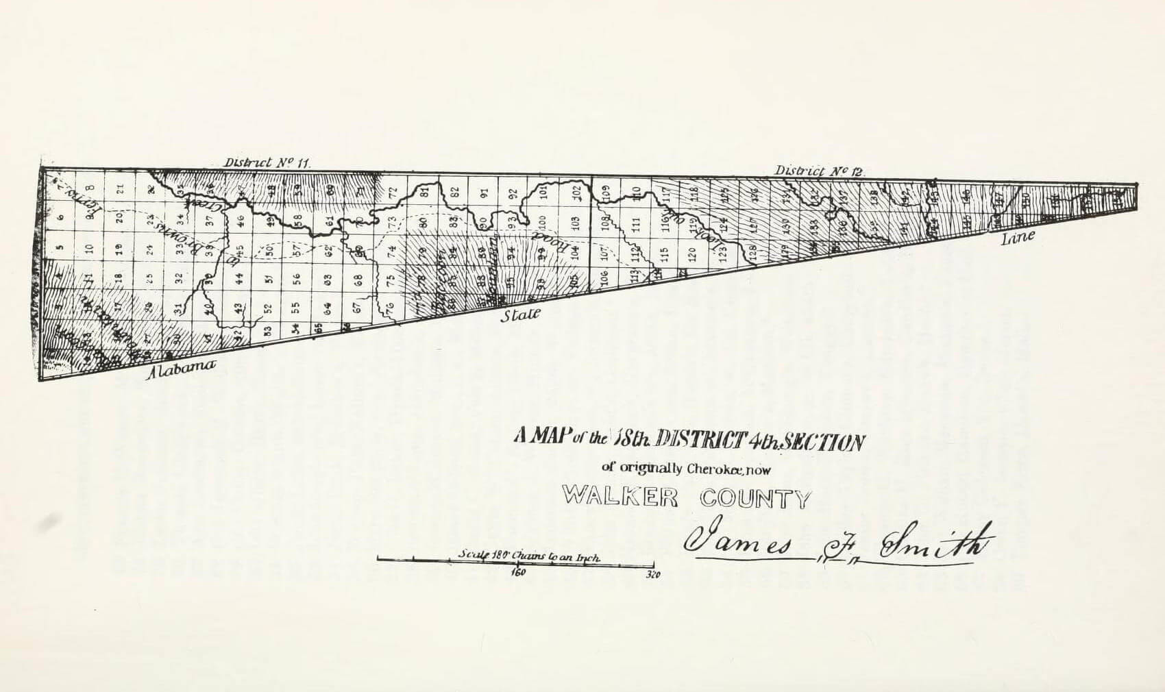 A map of the 18th District 4th Section of originally Cherokee, now Walker County