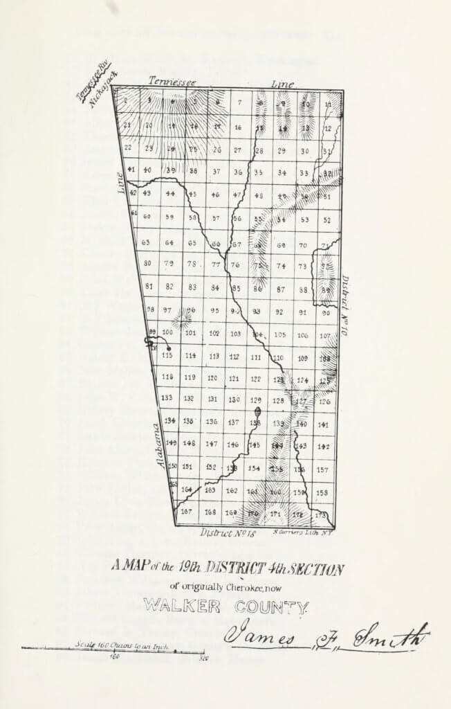 A map of the 19th District 4th Section of originally Cherokee, now Walker County