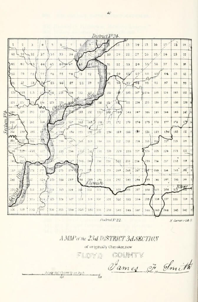 A map of the 23rd District 3rd Section of originally Cherokee, now Floyd County