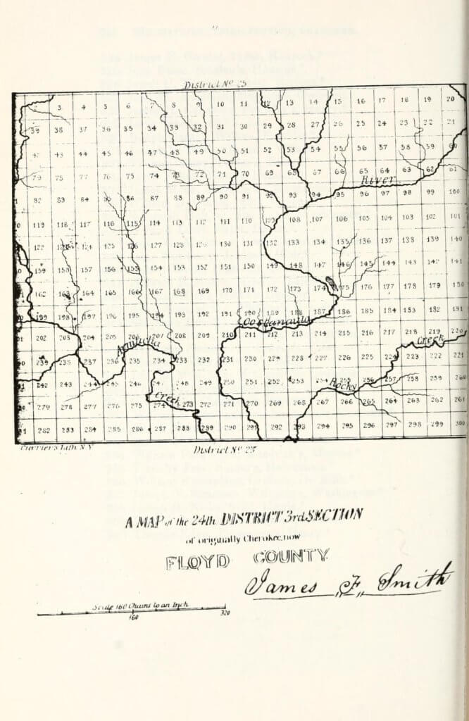 A map of the 24th District 3rd Section of originally Cherokee, now Floyd County