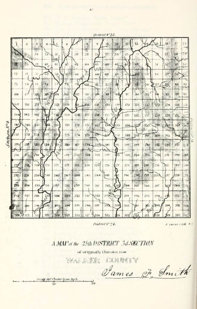 A map of the 25th District 3rd Section of originally Cherokee, now Walker County