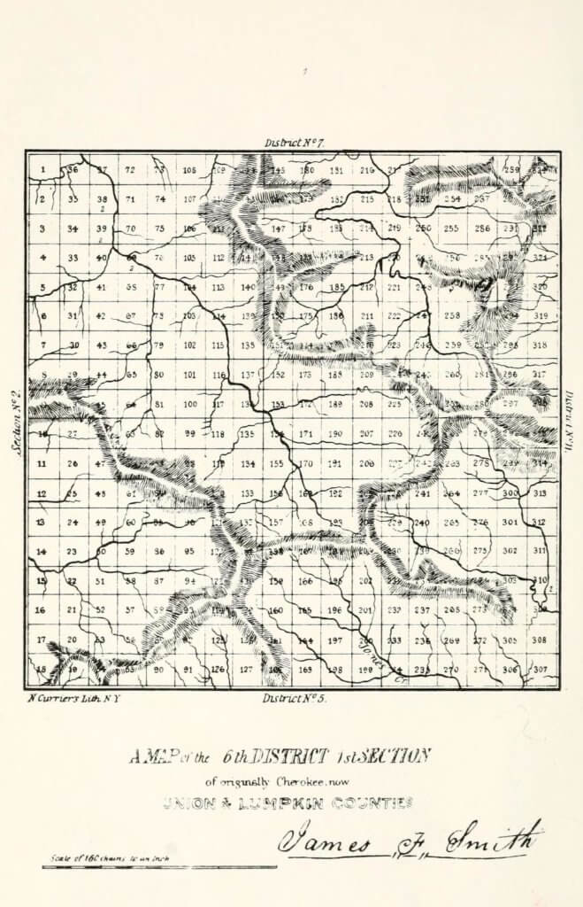 A map of the 6th District 1st Section of originally Cherokee, now Union and Lumpkin Counties