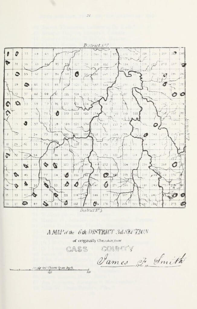 A map of the 6th District 3rd Section of originally Cherokee, now Cass County
