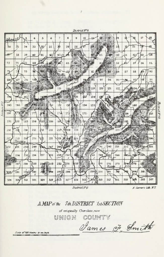 A map of the 7th District 1st Section of originally Cherokee, now Union County