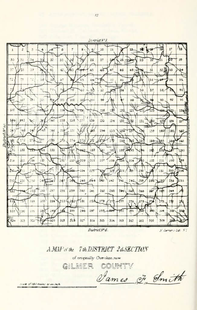 A map of the 7th District 2nd Section of originally Cherokee, now Gilmer County