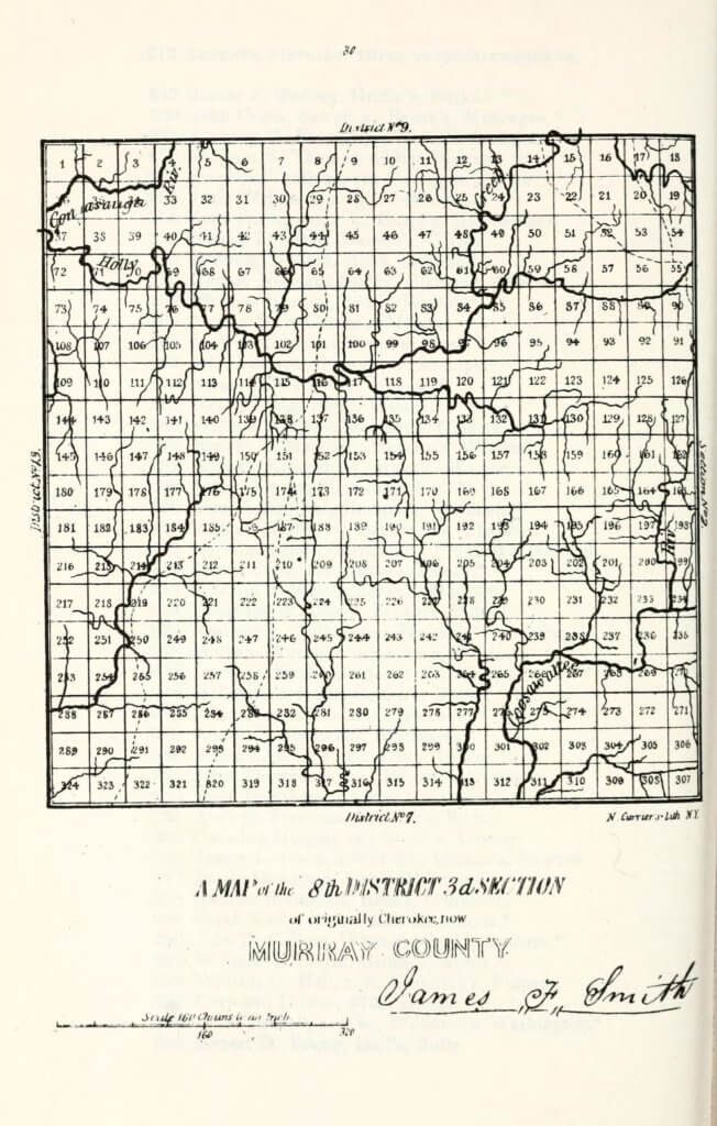A map of the 8th District 3rd Section of originally Cherokee, now Murray County