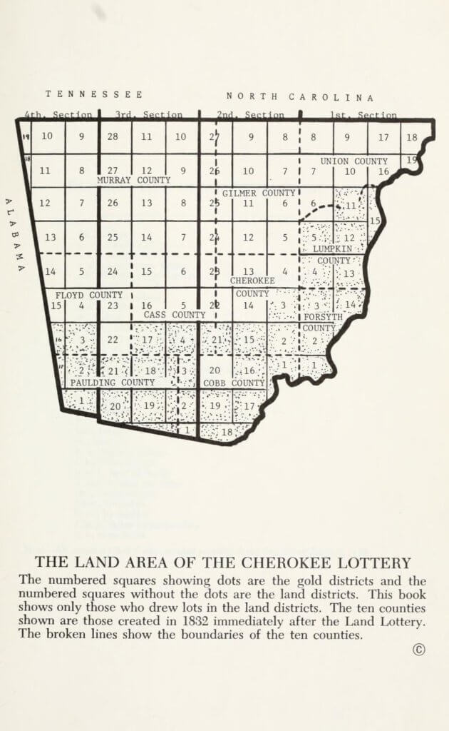 Land area of the 1832 Cherokee Land Lottery