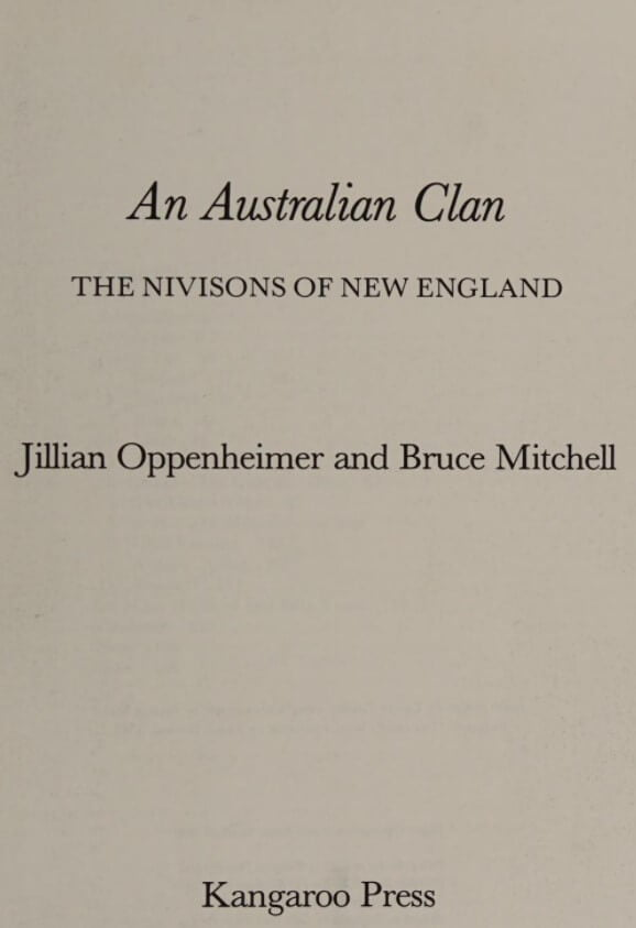 An Australian clan: the Nivisions of New England