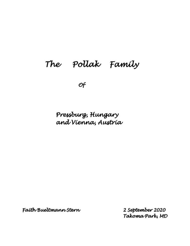 The Pollak Family of Pressburg, Hungary and Vienna, Austria