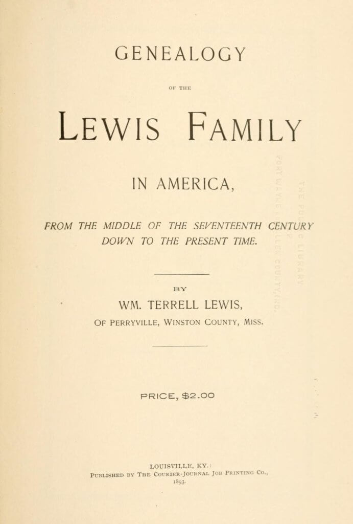 Genealogy of the Lewis family in America, from the middle of the seventeenth century down to the present time