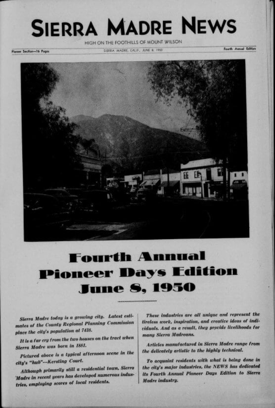 Page 1 of the Fourth Annual Pioneer Days Edition, 8 June 1950, of the Sierra Madre News