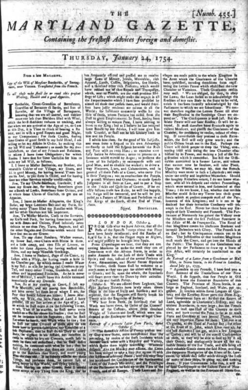 Copy of the Maryland Gazette: January 24, 1754